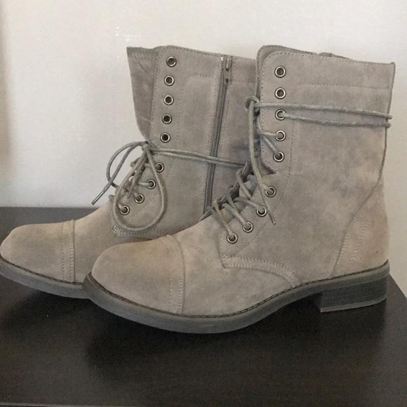 Grey Combat Boots